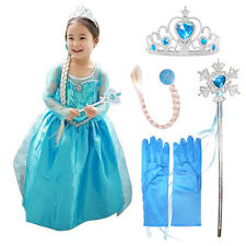 Elsa Frozen Inspired Fancy Dress Party Costume+ Accessories Gloves Wand Tiara..
