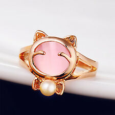 Lovely Girls Women Jewelry Cat eye stone imitated pearl bead alloy ring