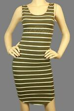 Sexy Olive green white striped sleeveless tank dress curved hem line above knee