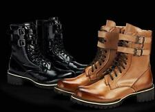 mens casual military outdoor high top buckle strap leather work chukka boots
