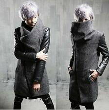 Mens punk Stand Collar Trench Coat Wool Blend Long Slim Fit  faux Leather Sleeve