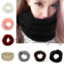 Womens Girls Scarf Cable Knit Neck Circle Wrap Warmer Cowl Shawl Slouchy Scarves