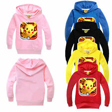 XMAS Kids Girls Boys Pokemon Hoodies Long Sleeve Pikachu Cartoon Clothes 3-10 Y