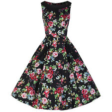 Black Floral Vintage Sleeveless 50s Rockabilly Prom Cocktail Dance Swing Dress