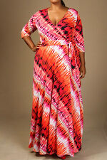 Plus Size 3/4 Sleeve Maxi Tie-Dye Wrap Dress