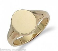 Gold Signet Ring Heavy Solid Gold Men's Signet Ring Gents Oval Plain Signet Ring