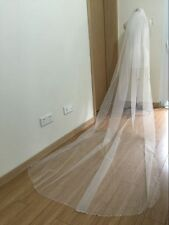ivory/white New 1 layer Wedding Bridal Veil beaded 3 m cathedral length+comb