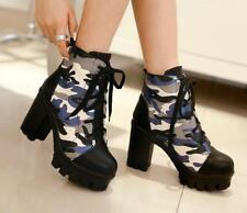 Womens platform pump Lace up high-top boots Camo thick high chunky heels shoes
