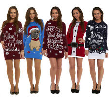 New Ladies Womens Novelty Christmas Xmas Knitted Tunic Retro Jumper Sweater 2016