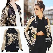BLOGGERS! Reversible Embroidered Bomber Jacket Womens Embroidery Baseball Coat