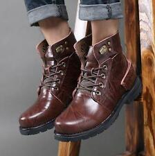 Mens leather round toe military outdoor work tooling ankle boots winter fur line
