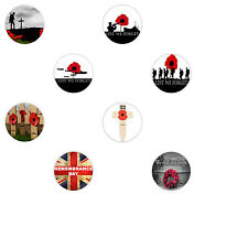 Remembrance Poppy Day Lest We Forget Poppies Pin Button Badge 38, 45  & 58 mm