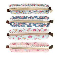 Girls Flower Lace Floral Pencil Case Purse Cosmetic Makeup Pouch Bag DE