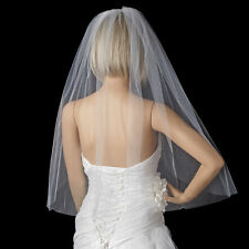 white / ivory single layer wedding elbow length cut edge bridal veil with comb