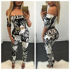 Fashion Women Short Sleeves Long Jumpsuits Bodycon Off-Shoulder Rompers Playsuit