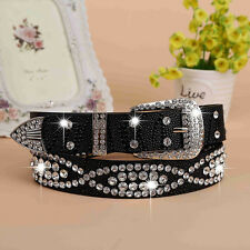 Newest Faux Leather Bling Rhinestone Western Cowgirl Belts Waistbands Straps