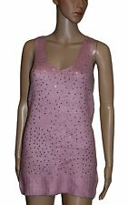 NEW! Long Line Length Pink Soft Luxury Mohair Sparkly Sequins Sleeveless Jumper