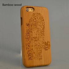 Wood Phone Case For iPhone 7 6s Plus Natural Wooden Bamboo Cheetah Tattoo Cover