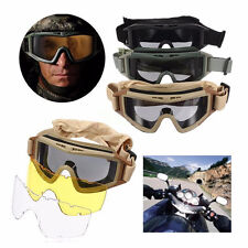 Tactical Airsoft Bike Bicycle Anti-fog Goggles Eye Protection Glasses W/ 2 Lens