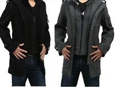 Mens Wool Blend Winter Coat Trench Zip Outerwear mid Long Jackets Hooded thick