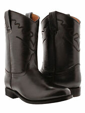 mens brown classic smooth leather western cowboy leather boots rodeo roper toe