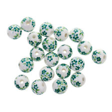 20pcs Round Floral Ceramic Porcelain Loose Spacer Beads for Jewelry Making Craft
