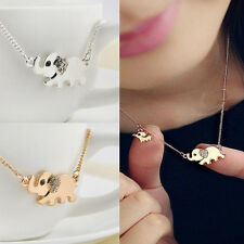 Cute Elephant Family Stroll Pandent Fashion Charming Crystal Chain Necklace MFK