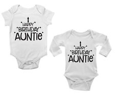 Happy Birthday Auntie Cute Boys and Girls Baby Vest Bodysuit Short & Long Sleeve