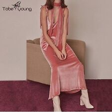 Sexy Women Pink Velvet Strap V-neck Maxi Dress Long Gown Party Cocktail Evening