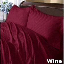 US-BEDDING COLLECTION 1000TC 100%EGYPTIAN COTTON WINE STRIPE US TWIN SIZE