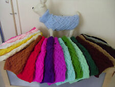 """Hand Knitted dog vest, coat, jumper XSmall 12"""" long  yorkie, chihuahua 14"""" Chest"""