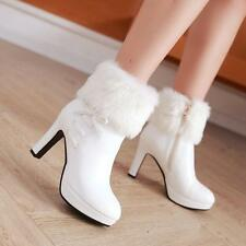 Chic Womens Furry Warm zip up High Heels Platform Shoes Pumps Ankle Boots size