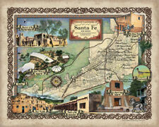 221 Santa Fe New Mexico vintage historic antique map painting poster print