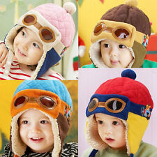 NEW Kid Baby Boy Warm Cap Hat Beanie Pilot Aviator Crochet Earflap Hat