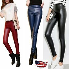 Women's High Waisted  Faux Leather Stretch Pants Leggings Jeggings Ball Pants -U
