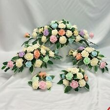 WEDDING FLOWERS TOP TABLE ARRANGEMENT CANDLE RING PACKAGE RAINBOW PASTEL COLOUR