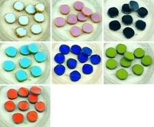 4pcs Picasso Large Flat Round 8Edge Window Table Cut Coin Czech Glass Beads 15mm