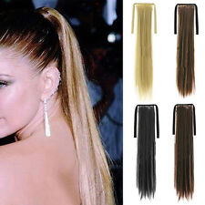 Clip In Ponytail Pony Tail Hair Extension Wrap On Hair Piece Long Wavy Straight