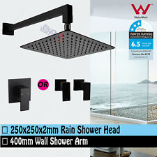 Square Black 10'' 250MM Thin Shower Head Set Brass Mixer Or Twin Taps Watermark