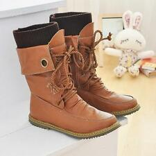 School girls Womens Lace Up Hiking Trail mid calf Boots flat casual Shoes