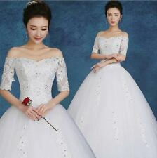 Lace Up Beaded Bride Wedding Dress Ivory/Red Bridal Ball Gowns Half Sleeves