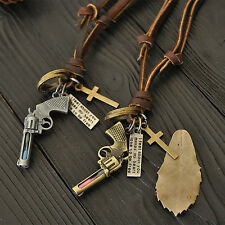 Retro Fashion Personality All-match Leather Necklace  Pendant  Hourglass Pistol