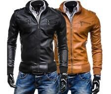 New Mens Motorcycle Leather Jackets Slim Fit Stylish Luxury Coat Outwear