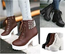 Womens Chunky High Heel Platform Rivet Studded zip up Gothic Ankle Boot lace up