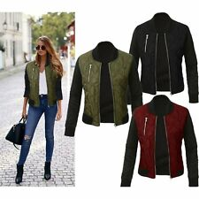 New Womens Ladies Classic Casual Bomber Jacket Vintage Zip Up Biker Outwear Coat