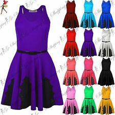 Womens Ladies Sleeveless Lace Insert Muscle Back Belted Flared Skater Dress 8-26