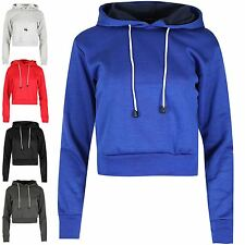 Womens Plain Crop Hoody Long Sleeve Fleece Sweatshirt Ladies Pullover Hooded Top