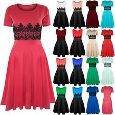 Womens Ladies Waist Lace Flared Cap Sleeve Franki Skater Midi Dress Plus Size