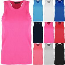 Kids Childrens T Shirt Racer Muscle Girls Front Back Ribbed Cotton Soft Vest Top