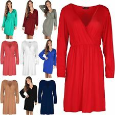 Womens Cross Over Ruched Flared Ladies Swing Front Wrap Midi Skater Dress Top